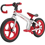 Chillafish Fixie 固定齿轮造型平衡自行车带集成脚垫、脚垫和无气橡胶皮轮胎,红色