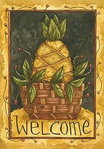 Toland Home Garden Pineapple Basket 12.5 x 18 Inch Decorative Americana Fruit Welcome Garden Flag