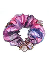多色发圈蓬松发圈水晶蕾丝布女式头绳发绳 12cm