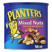 Planters 海盐混合坚果,56盎司/1.58千克 可重新密封的罐装,烤坚果:少于50%的花生,杏仁,腰果,山核桃和榛子