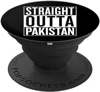Straight Outta 巴基斯坦手机抓握礼品创意 - PopSockets 手机和平板电脑抓握支架260027  黑色