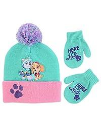 Nickelodeon 女童狗狗巡逻队帽和手套寒冷天气套装,绿色/粉色,适合 2-4 岁儿童
