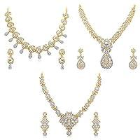 Sukkhi Glimmery 3 Pieces Golden Brass Choker Necklace Set Combo For Women