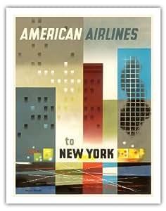 "Pacifica Island Art To New York - 美国航空公司 - Weimer Pursell 复古航空旅行海报 1950 - 艺术印制 11"" x 14"" APB3520"