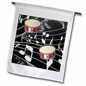 florene 音乐–红色 drums ON 音符–旗帜 12 x 18 inch Garden Flag