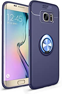 Galaxy S7 Edge 手机壳,HONTECH 超薄软硅胶 360 度旋转磁性车载固定环支架 TPU 手机壳适用于三星 Galaxy S7edge Samsung Galaxy S7 Edge 蓝色