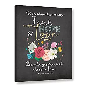 """ArtWall Jo Mouton's Faith Hope & Love Gallery Wrapped Canvas Print, 14 x 18"""""""