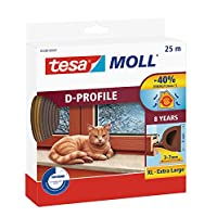 tesa 05389–00001–00moll d-profile draught excluder 适用于门和 Windows ,棕色,25M X 9mm