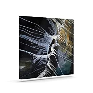 "Kess InHouse Steve Dix""Bones"" 黑白户外帆布墙壁艺术 16"" x 20"" 黑色 SD1007AAC03"