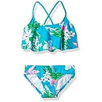 Kanu Surf 女童 Alania 花卉荷葉邊比基尼沙灘運動兩件套泳衣