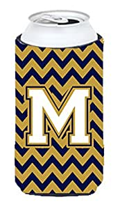 Caroline's Treasures CJ1057-NMUK Letter N Chevron Navy Blue and Gold Michelob Ultra Koozie for slim Cans, Multicolor