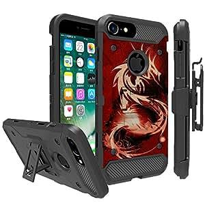 不可触摸的手机壳适用于 Apple iPhone 6、iPhone 7、iPhone 8(4.7 英寸)手机壳【坦克系列】独特设计重型手机壳带支架皮套皮带夹组合 红色龙