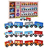 Wooden Train Set 12 件,磁性铁路,适合 2-3 岁-4 岁以上的儿童,可与所有主要品牌的火车玩具组合,木质盒和套 Emergency Trains