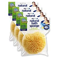 "Baby Buddy's Natural Baby Bath Sponge 4 Pack 4-5"" Ultra Soft Premium Sea Wool Sponge Soft on Baby's Tender Skin, Biodegradable, Hypoallergenic, Absorbent Natural Sea Sponge"
