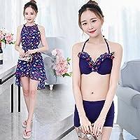 水浪漫 2018新款韩国游泳衣女士分体保守三件套温泉沙滩泳装