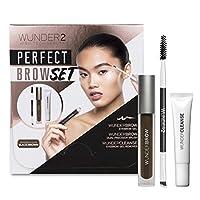 WUNDER2 完美畫眉套組,包含Wundroww眉膠、Wunder卸妝乳和雙頭精細眉刷, 黑色/棕色