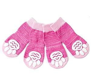 Pet Heroic 防滑针织狗袜和猫袜,橡胶加固,防滑针织狗爪保护器和猫爪保护装置,适合室内穿着,适合中小型和大型犬和猫 4XL