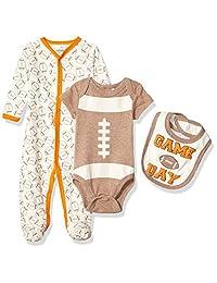 Quiltex 男孩幼儿比赛日长袖连体爬行服/围兜 3 件套