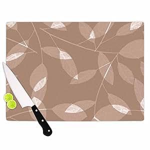"KESS InHouse Alison Coxon""叶子茶""棕色米色砧板,多色 多种颜色 11.5 by 8.25"" AC1059ACB01"