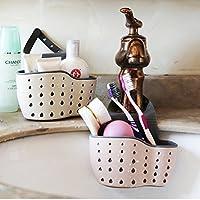 【厨房用具水槽沥水挂篮】厨房用具水槽沥水挂袋小置物架海绵水池收纳用品挂篮沥水架 (粉色+白色沥水篮2个)