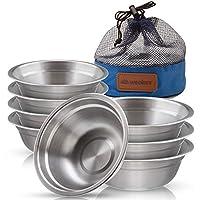 不锈钢碗套装 - 15.24 厘米超便携式餐具圆形 BPA 碗带网眼旅行包户外露营 - 远足、野餐、烧烤、海滩