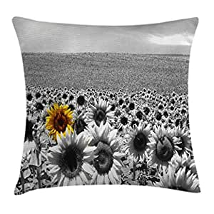 Modern Decor Throw Pillow Cushion Cover by Ambesonne, Sunflower Field Black and White with a Single Yellow Flower Spring Landscape Image, Decorative Square Accent Pillow Case, 18 X18 Inches, Grey