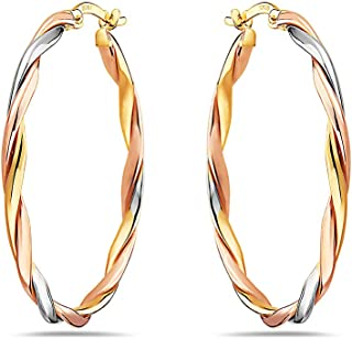 Pori Jewelers 14K 纯金扭纹编织环状耳环 - 3 色 黄色、白色、玫瑰色