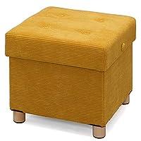 IRIS OHYAMA 爱丽思欧雅玛 带脚收纳凳 方形/宽 ASST 芥末黄 スクエア 573500