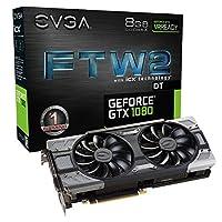 EVGA GeForce GTX 1080ftw2游戏8GB GDDR 5X ICX 技术–9保暖传感器 & RGB LED g/P / M, aysnch 风扇优化 AIRFLOW 设计显卡08g-p4–6684-kr