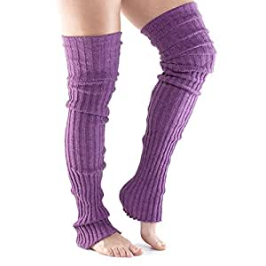 Fitness Mad 中性款过膝瑜伽/普拉提和休闲腿套,紫红色,均码