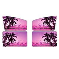 PZZ 海滩汽车侧窗灯罩 4 件装,热带风紫色日落棕榈树图案,通用型前后窗*罩罩