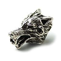 LynnAround 925 标准纯银 Norse Viking Wolf Head Beard 串珠戒指,Dreadlock 海盗发珠,Pagan Jewelry