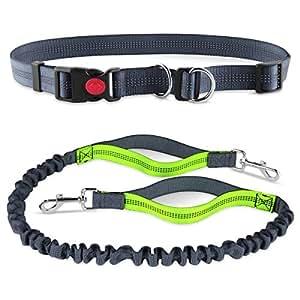 1 级狗绳,带两个软手柄,适合散步跑步时慢跑 小型中大型犬 灰色 Running Leash