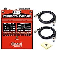 径向 JDX 直驱吉他扩音器模拟和直接盒 DI,带吉他扩音器模拟| 存在开关| 调谐器输出| 极反向和接地提升,带 2 根麦克风线和 Zorro 布