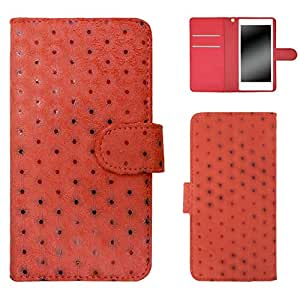 白色边框手机保护壳翻盖式波点 红色 3_ Galaxy S4 SC-04E Samsung