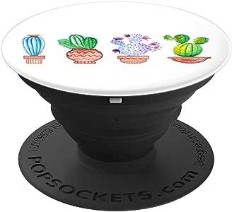可爱迷你 Cacti 罐子 – 水彩手绘艺术 PopSockets 手机和平板电脑握架260027  黑色