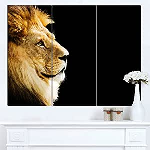 "Designart MT12951-271 大型狮子肖像 - 非洲光面金属墙壁艺术 黑色 36x28"" - 3 Panels MT12951-3P"