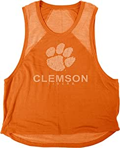 蓝色 84 NCAA 克莱姆森老虎队女式 Mara 优质厚绒布肌肉背心,M 码,橙色