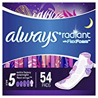 Always Radiant Feminine Pads for Women, Size 5, Extra Heavy Overnight, with Wings, Scented, 18 Count, Pack of 3 (54 Count Total)