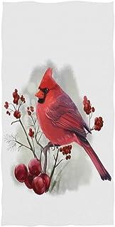 Wamika Bird Cardinal 水彩手巾 40.64 x 76.20 厘米 圣诞节冬青雪花薄浴室浴巾指尖毛巾 吸水性强,适合手脸健身房