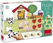 Goula 拼图 1 - 5 - 6 块拼图,15 块木质动物形状
