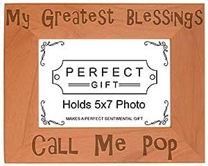 Grandpa Gift Blessings Call Me Pop 天然木刻照片相框 木色 5x7 Horizontal A-P-L-AWF57-0067-H