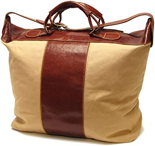 Floto Luggage Piana Tote In Canvas and Leather, Tan, Large