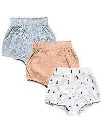 LOOLY 男女宝宝 3 件装棉质亚麻混纺灯笼裤短裤