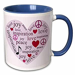 3drose patricia sanders 灵感–和平, LOVE , JOY 励志艺术 Heart 励志–马克杯 蓝/白 11 oz