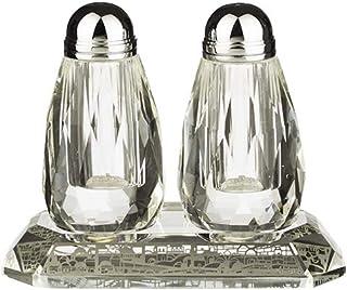 现代水晶盐和胡椒调味罐套装 带托盘 – 激光切割金属板带耶路撒冷图案