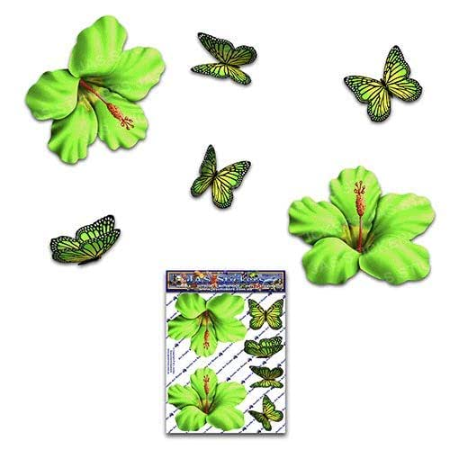HIBISCUS FLOWER S 绿色 + BUTTERFLY Animal Pack 汽车贴纸 - ST00023GR_SML
