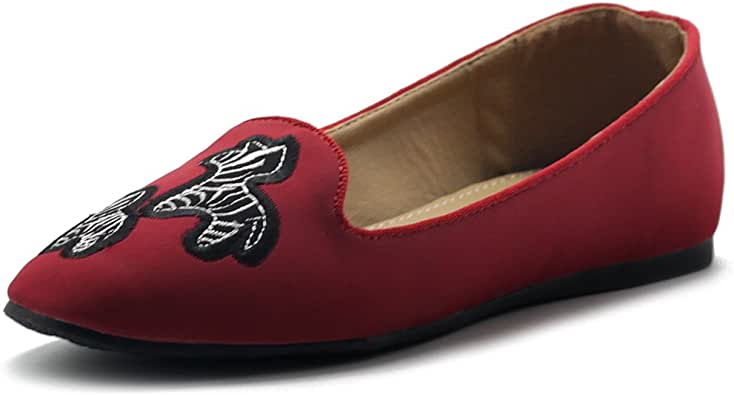 Ollio Women's Shoes Embroided Zebra Slip-On Light Comfort Flat 红色 8 B(M) US