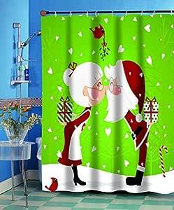 Carnation Homes Kissing Santa Christmas Fabric Shower Curtain 70 X 72