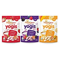Happy Baby 有机Yogis 冷冻干燥酸奶和水果零食,3种口味包装,1盎司(28g)